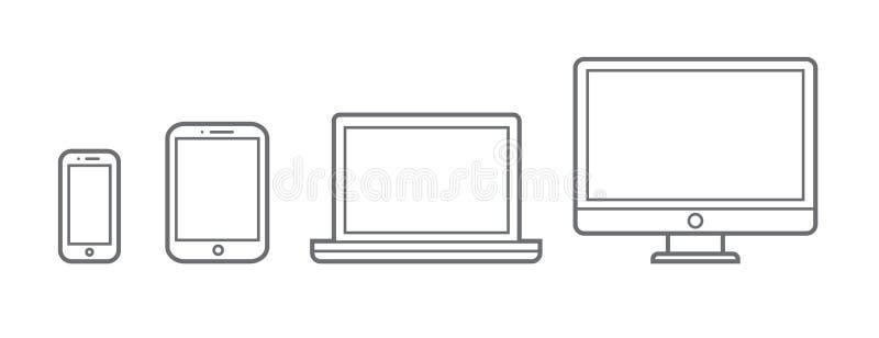Gerät Infographic-Ikonen: Smartphone, Tablet, Laptop, lizenzfreie abbildung