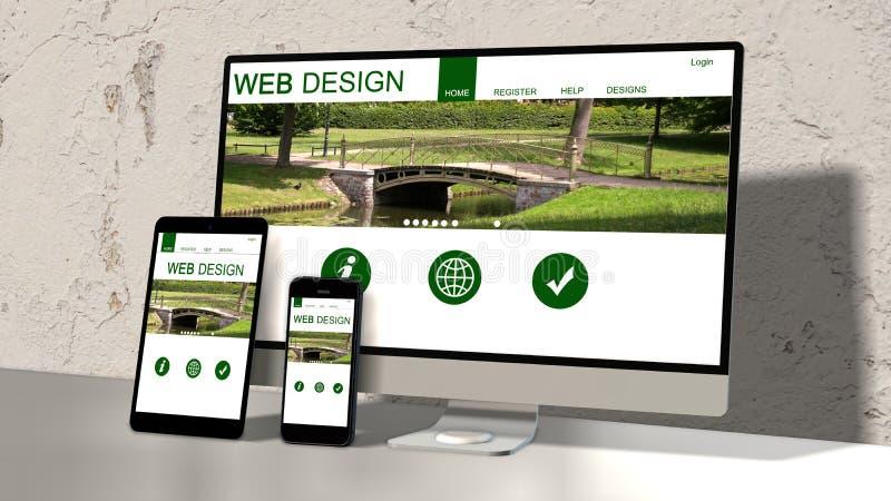 Geräte entgegenkommend mit entgegenkommendem Websitedesign lizenzfreie abbildung