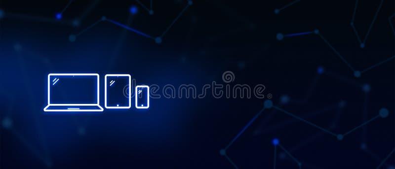 Geräte, Laptop-Computer Schirm, das ipad, beweglich, Digital-Tablettenanzeige, Social Media, treten mit uns in Verbindung und lan lizenzfreies stockbild