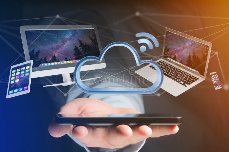 Geräte mögen den Smartphone, Tablette oder Computer fliegend über connecte lizenzfreies stockfoto