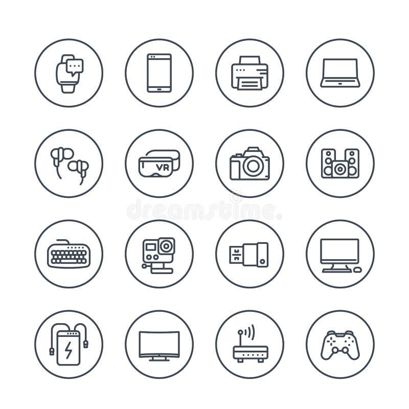 Geräte, moderne Geräte, Elektroniklinie Ikonen vektor abbildung