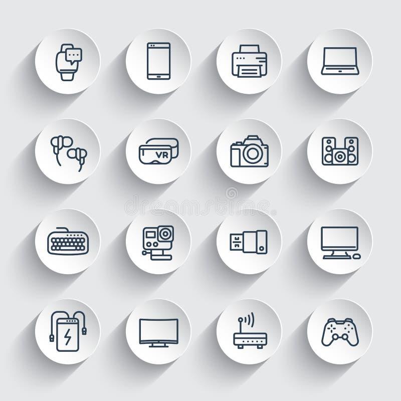 Geräte, moderne Gerätlinie Ikonen eingestellt stock abbildung