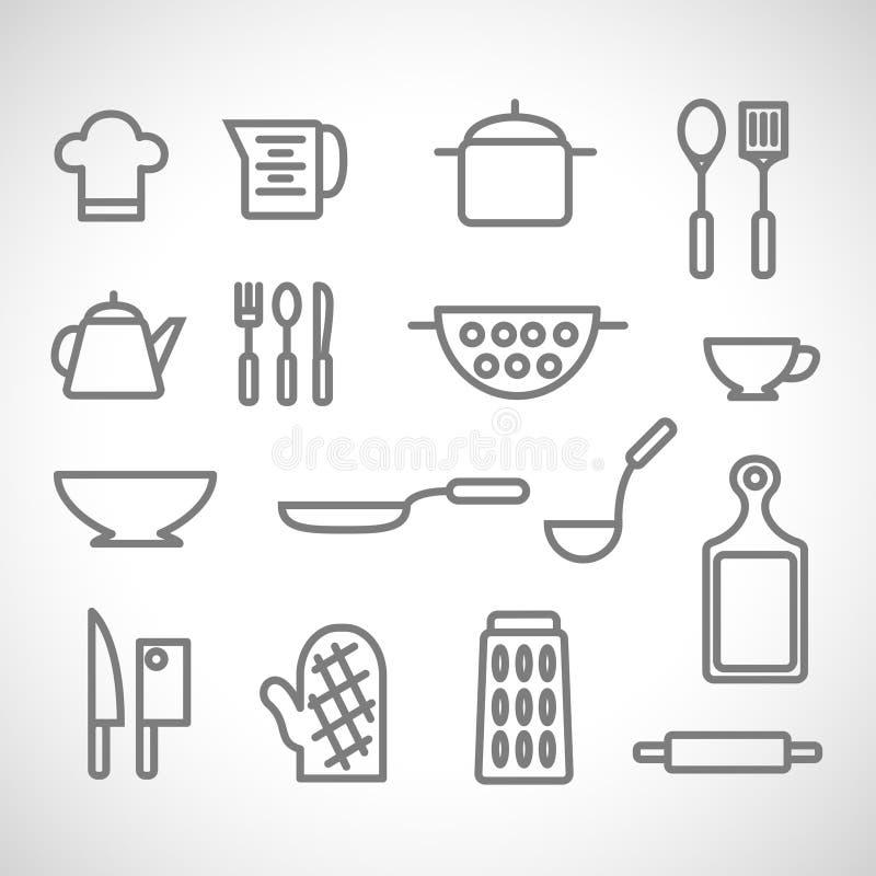 Geräte und Lebensmittelhand gezeichnet Auf weißem Hintergrund lizenzfreie stockfotos