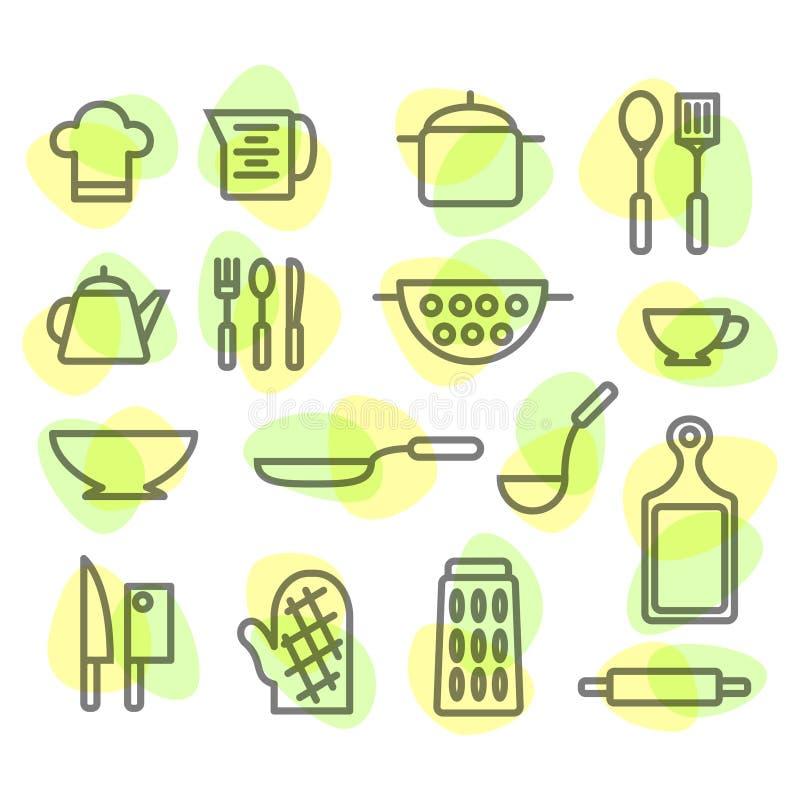 Geräte und Lebensmittelhand gezeichnet Auf weißem Hintergrund lizenzfreie stockfotografie