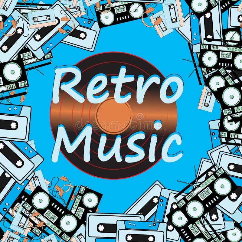 Gerätemagnetband- für Tonaufzeichnungenrecorder-Audiokassetten und Vinylaufzeichnungen von den sechziger Jahren 70s 80s 90s Auch  stock abbildung