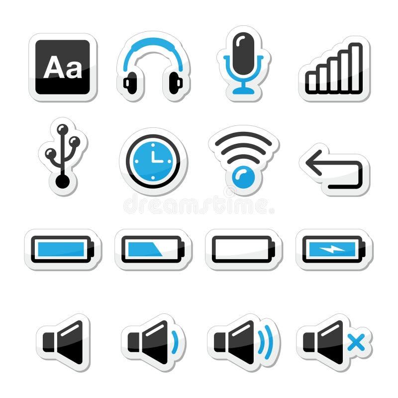 Geräten-/Computer-Software Ikonen eingestellt als Kennsätze vektor abbildung