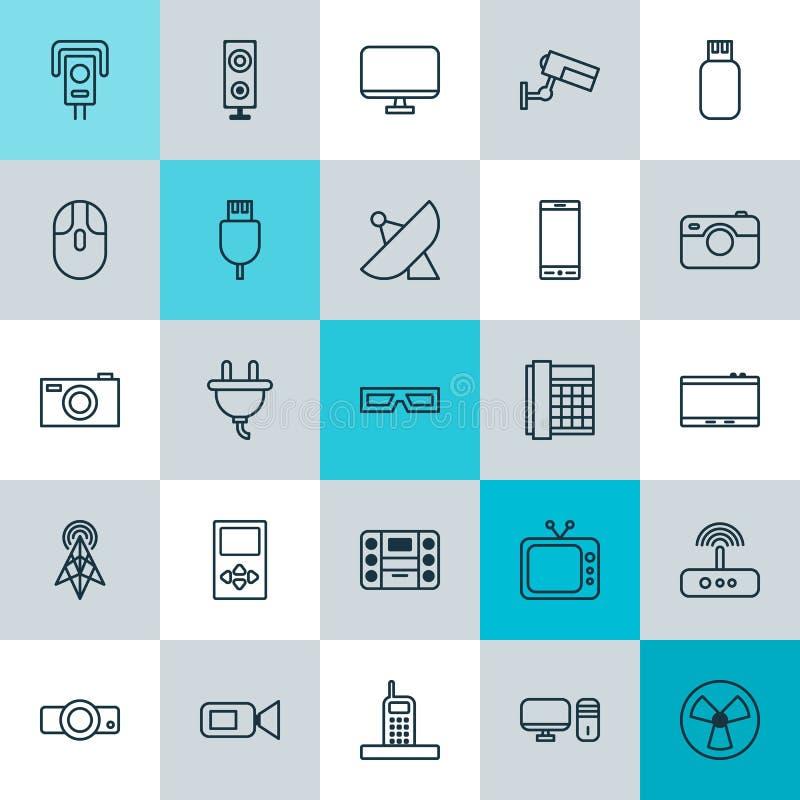 Gerätikonen eingestellt Sammlung Schauspiele, Arbeits-Telefon, Digitalkamera und andere Elemente Schließt auch Symbole wie ein vektor abbildung