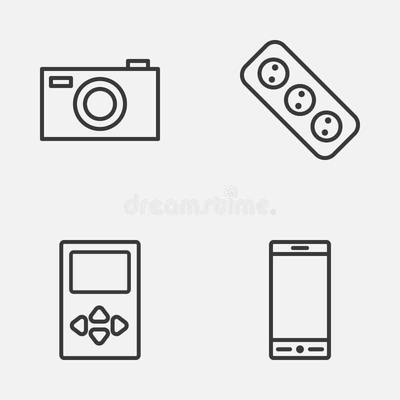 Gerätikonen eingestellt Sammlung Spieler, Verlängerungskabel, Digitalkamera und andere Elemente Schließt auch Symbole wie ein vektor abbildung