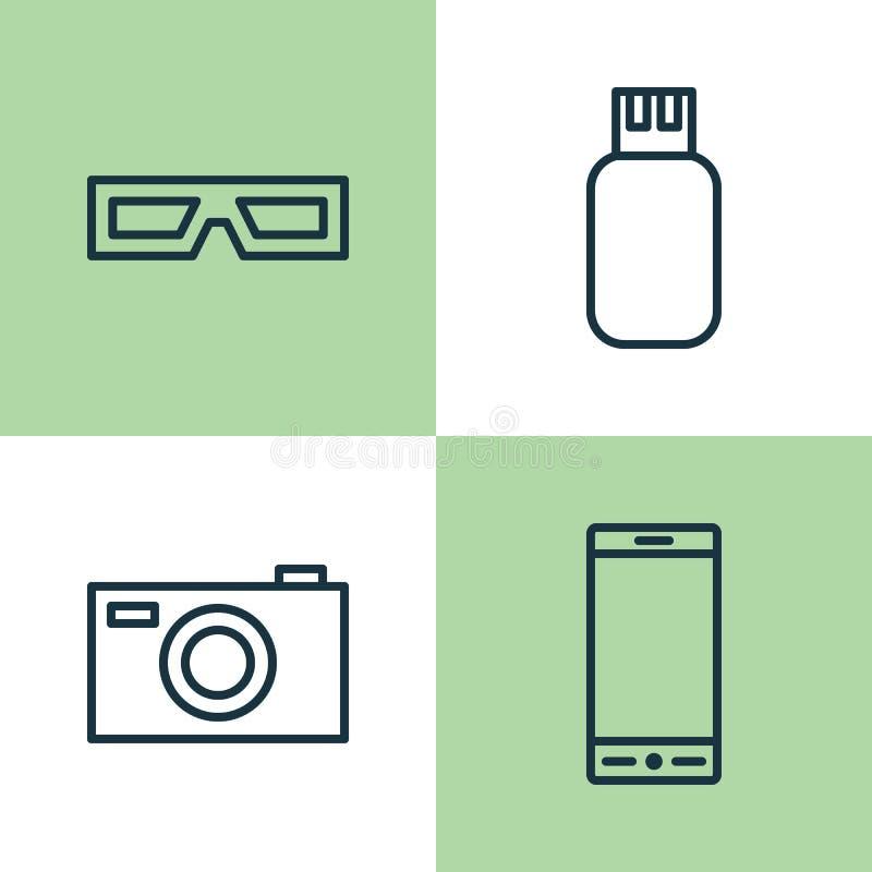 Gerätikonen eingestellt Sammlung Telefon, Schauspiele, Digitalkamera und andere Elemente Schließt auch Symbole wie ein stock abbildung