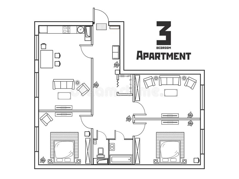 Geräumige Schwarzweiss-Wohnung mit drei Schlafzimmern lizenzfreie abbildung