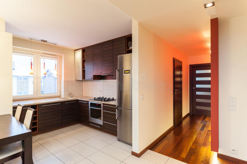 Geräumige Wohnung - Kücheninnenraum lizenzfreie stockfotografie