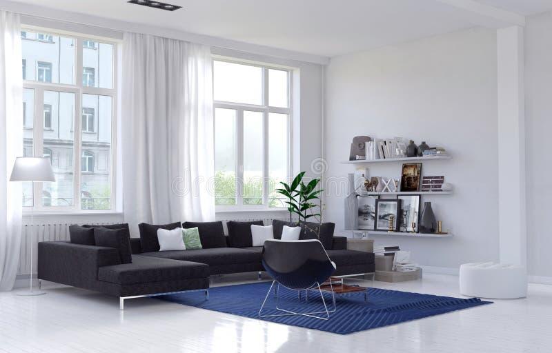 Geräumiger heller sonniger Wohnzimmerinnenraum vektor abbildung