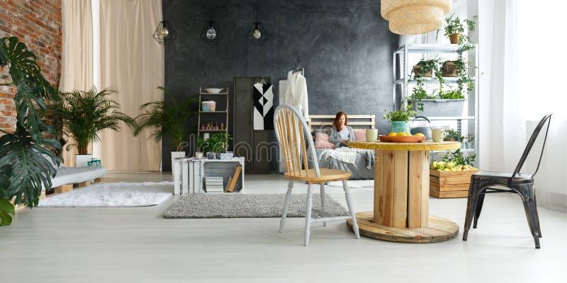 Geräumiger moderner Dachboden stockbilder