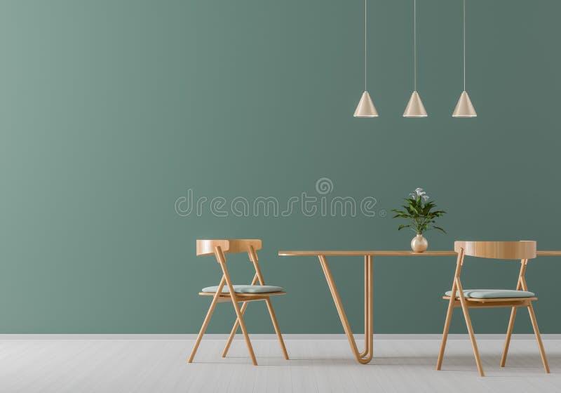 Geräumiges modernes Esszimmer mit Holzstühlen und Tabelle Unbedeutender Esszimmerentwurf Abbildung 3D lizenzfreie abbildung
