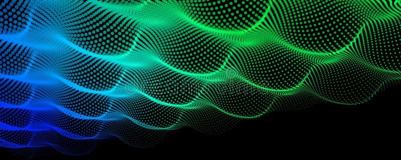 Geräuschwelle von Punkten Abstrakter digitaler Partikelfarbhintergrund vektor abbildung