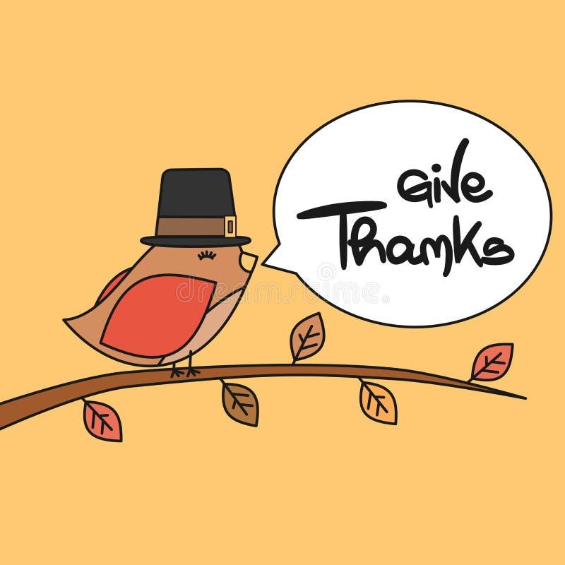 Ger den gulliga älskvärda handen dragen bokstäver kortet för tackvektorhälsningen med den lilla fågeln royaltyfri illustrationer