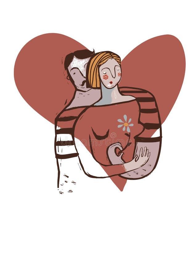 Ger krama och mannen för par förälskat flickan en blomma royaltyfri illustrationer