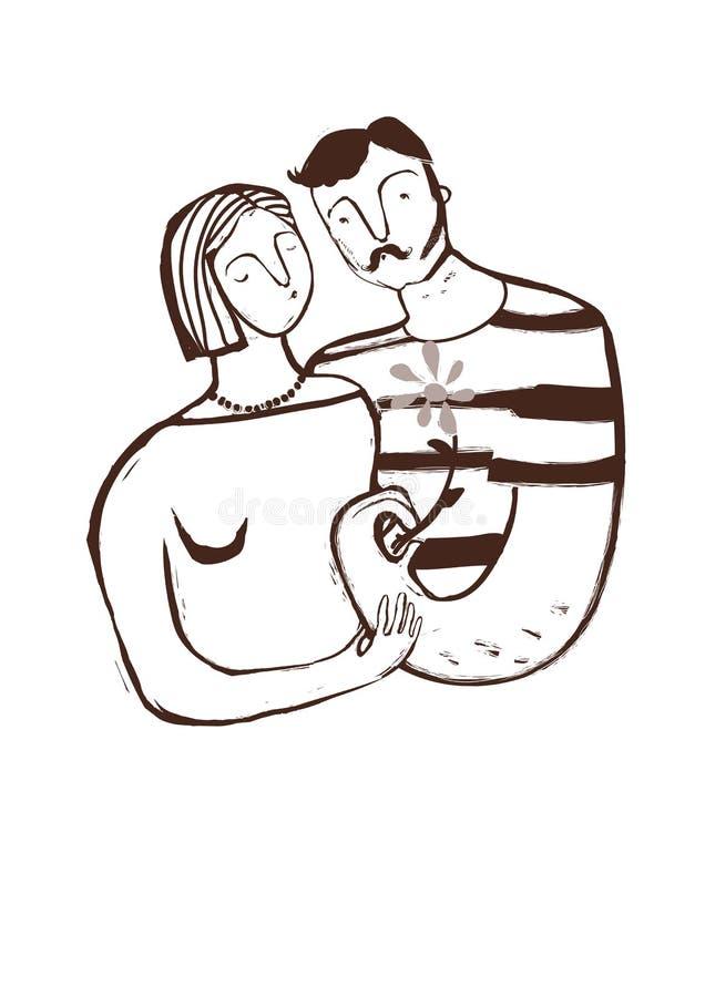 Ger kyssa och mannen för par förälskat flickan en blomma vektor illustrationer