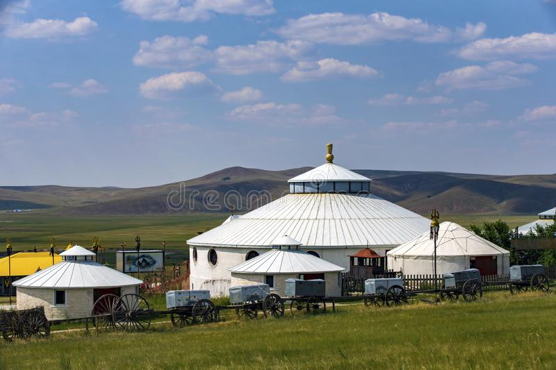The hulunbuir ger. Ger is one of the Mongolian herdsmen house, suitable for animal husbandry production and nomadic life stock image