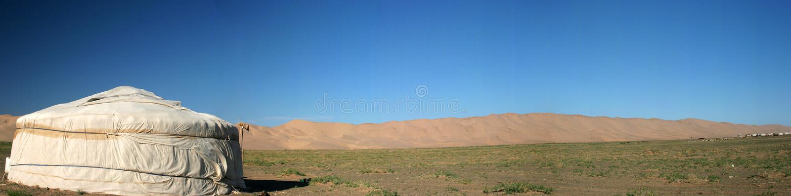 Ger Tent. Mongolian Ger with Gobi in the background royalty free stock photography