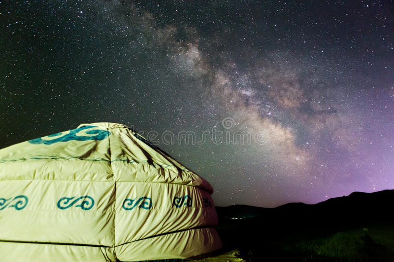 Ger under the Summer starry sky. Ger under beautiful starry sky, the Miky way, in grassland, in summer, in nei Mongolia, in China stock image