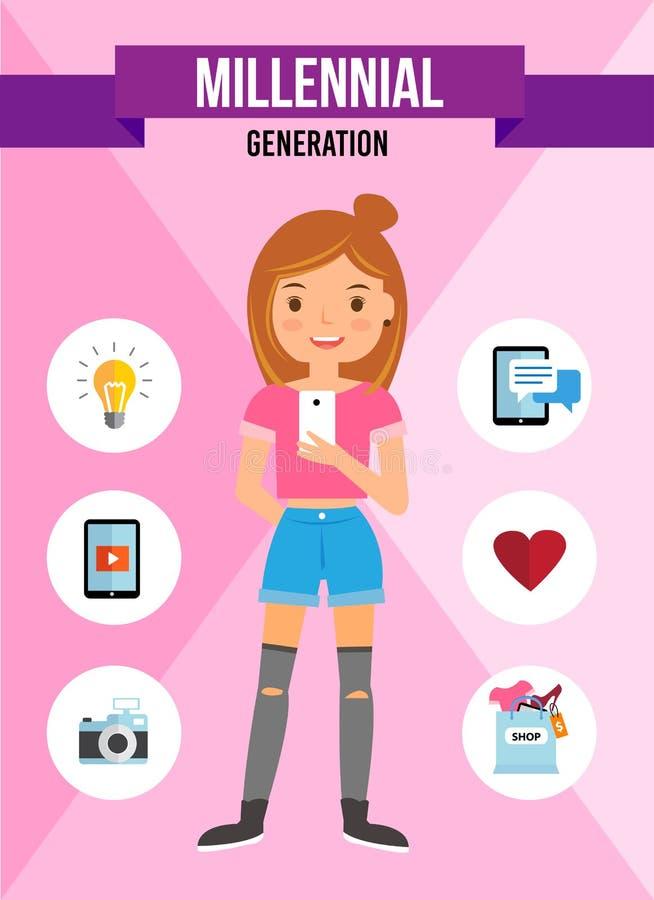 Geração milenar - personagem de banda desenhada fotografia de stock royalty free