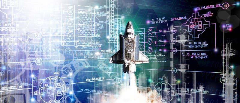 Geração que projeta o foguete industrial da construção das tecnologias para o espaço imagens de stock royalty free
