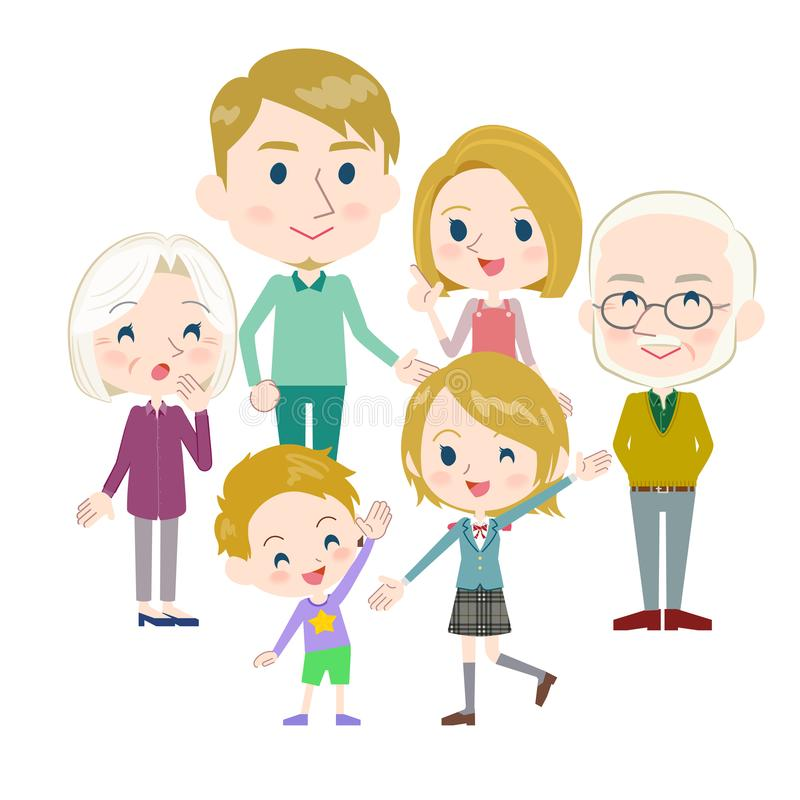 Gerações White_gather da família três ilustração royalty free