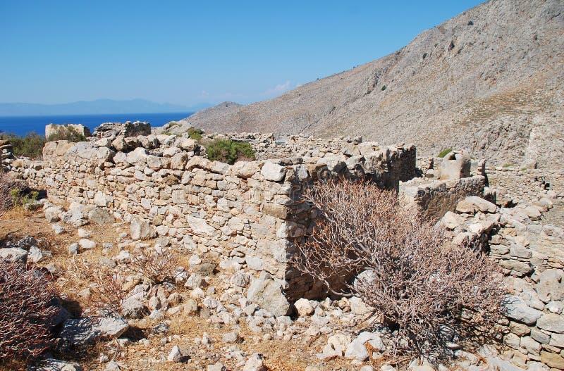 Gera-Dorf bleibt, Tilos-Insel stockbilder