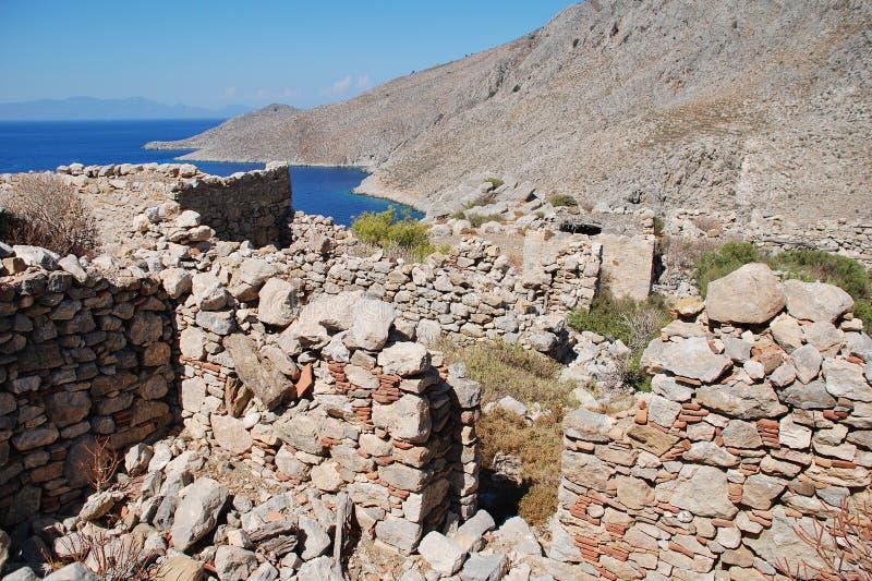 Gera-Dorfruinen, Tilos-Insel stockfoto