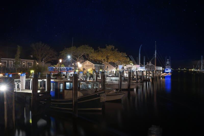 Gerade Kai-Hafen-Nacht-Nantucket-Insel lizenzfreies stockbild