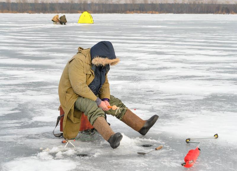 Gerade liegt aufgefangener Fisch auf Eis stockfoto