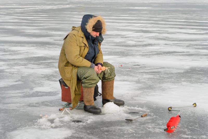 Gerade liegt aufgefangener Fisch auf Eis lizenzfreie stockbilder