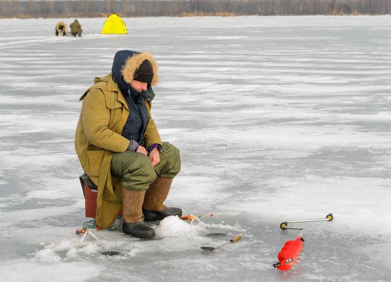 Gerade liegt aufgefangener Fisch auf Eis stockfotografie