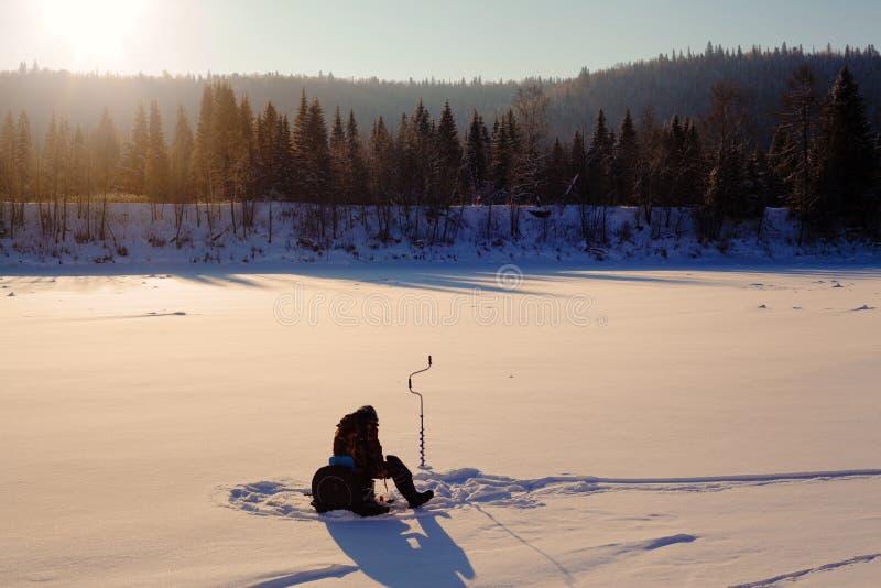 Gerade liegt aufgefangenes zander auf Eis Zelt, taiga, Wald, wild Die Urals-Landschaft stockfotos