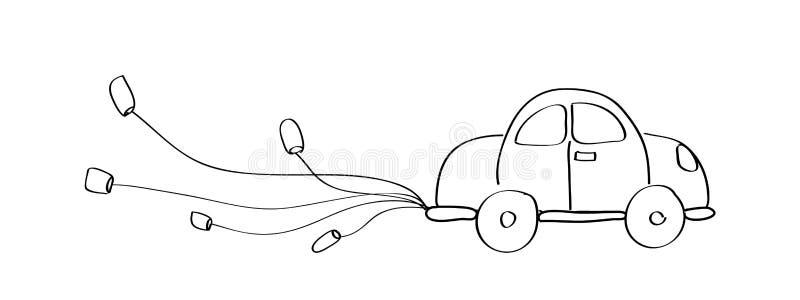 Gerade verheiratete Autokarikaturgekritzel-Handzeichnung vektor abbildung