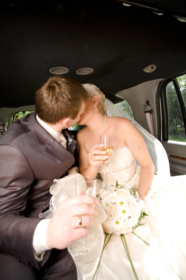 Gerade verheiratete junge Paare stockfotografie