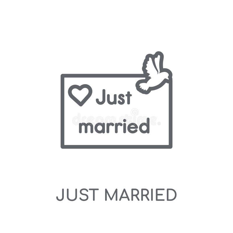 Gerade verheiratete lineare Ikone Moderner Entwurf heiratete gerade Logo conce lizenzfreie abbildung