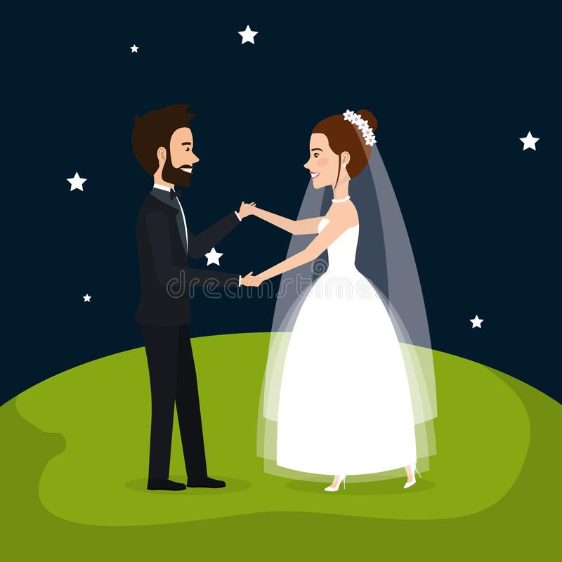 Gerade verheiratetes Paar auf dem Gebiet vektor abbildung