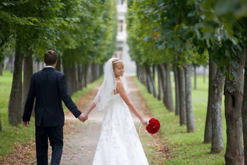 Gerade verheiratetes Paar, das hinunter die Allee geht stockfotografie