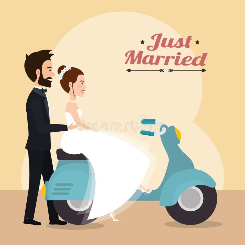 Gerade verheiratetes Paar in den Motorradavataracharakteren vektor abbildung