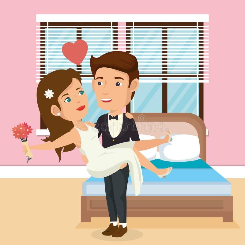 Gerade verheiratetes Paar im Schlafzimmer vektor abbildung