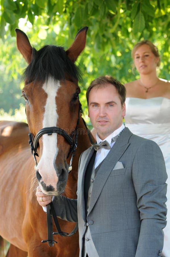 Gerade verheiratetes Paar mit Pferd lizenzfreie stockbilder