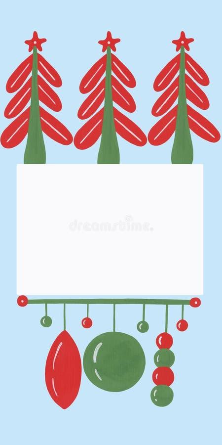 Gerader Rahmen mit naiven Dekorationselementen Weihnachtsbäume und -gärten auf hellblauem Grund Handgezeichnet in gouache auf Pap stock abbildung