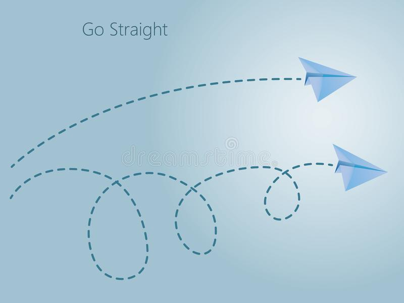 Gerader und curvy Flug des Flugzeugs des blauen Papiers auf dem blauen Hintergrund, zum des einfachen und komplexen Weges im Himm vektor abbildung