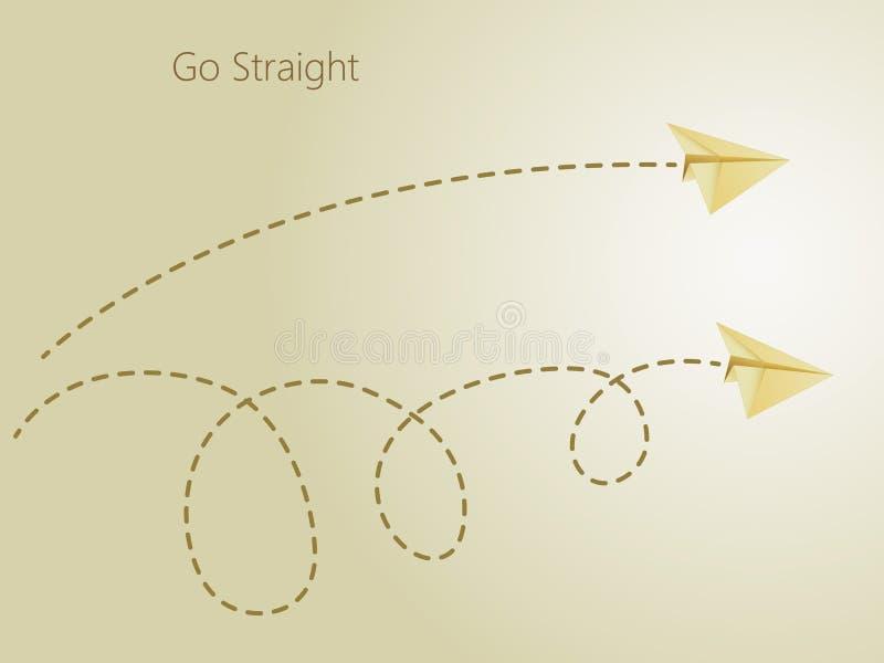 Gerader und curvy Flug des goldenen Papierflugzeugs auf dem goldenen Hintergrund, zum des einfachen und komplexen Weges im Himmel lizenzfreie abbildung