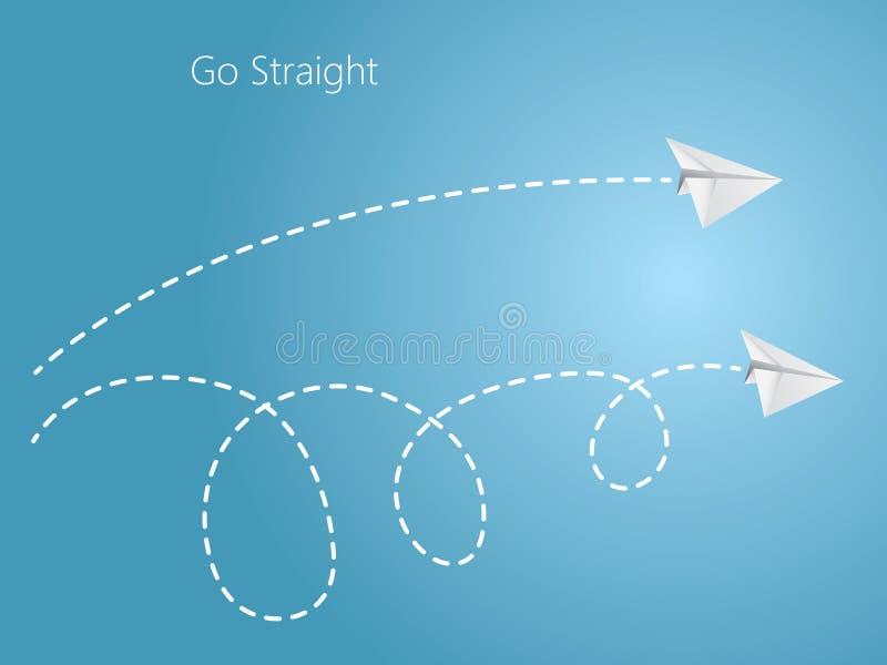 Gerader und curvy Flug des Weißbuchflugzeugs auf dem blauen Hintergrund, zum des einfachen und komplexen Weges im Himmel zu vergl vektor abbildung