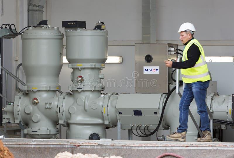 Gerador de poder diesel alternativo de alta tensão da planta Waste imagem de stock