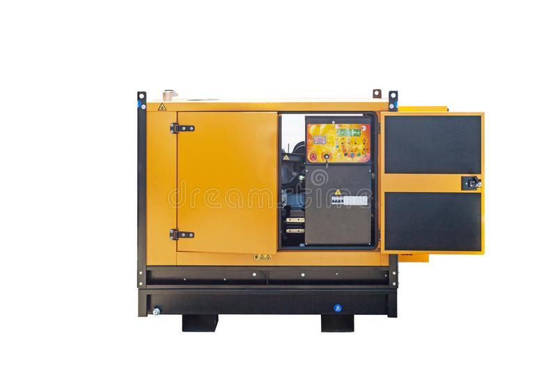 Gerador de poder diesel industrial no fundo branco fotos de stock