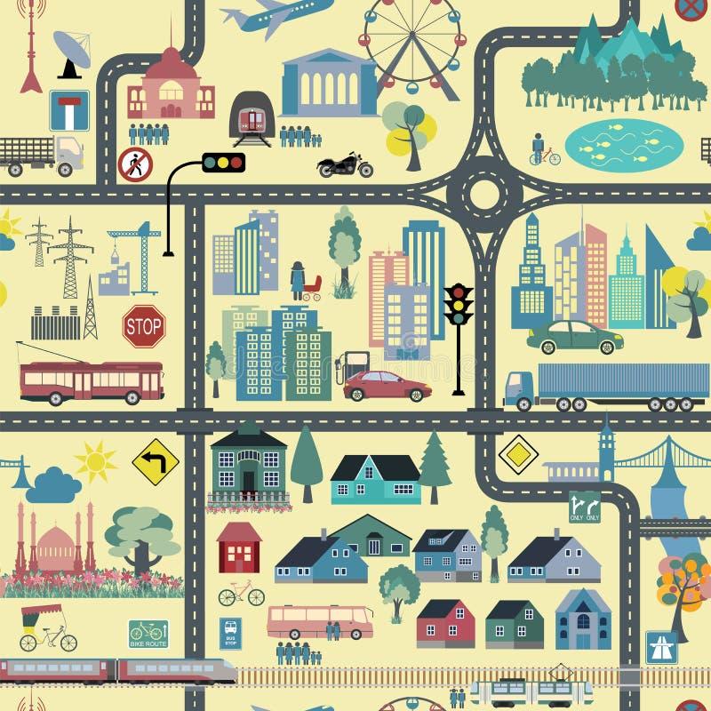 Gerador do mapa da cidade Exemplo do mapa da cidade ilustração royalty free